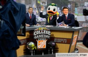 Tim Tebow on the set of ESPN College GameDay with Chris Foler and Lee Corso