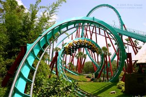 Busch Gardens Tampa Bay was the first multi-inversion roller coaster designed by Bolliger & Mabillard (B&M). This 143-foot tall steel coaster has seven inversions like the fourteen story vertical loop below.