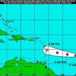 Tropical Depression Moving Westward in Atlantic