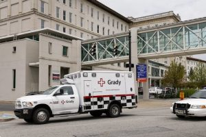 An American infected with the Ebola virus arriving at Emory University Hospital in Atlanta in an ambulance on Saturday,