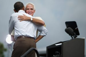 Charlie Crist may benefit from the hug he got from President Obama come 2014.